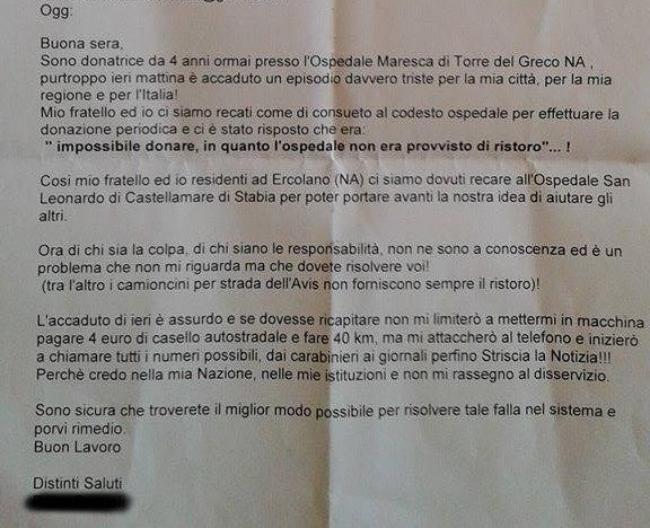 Mail inviata al centro trasfusionale dell'Ospedale Maresca
