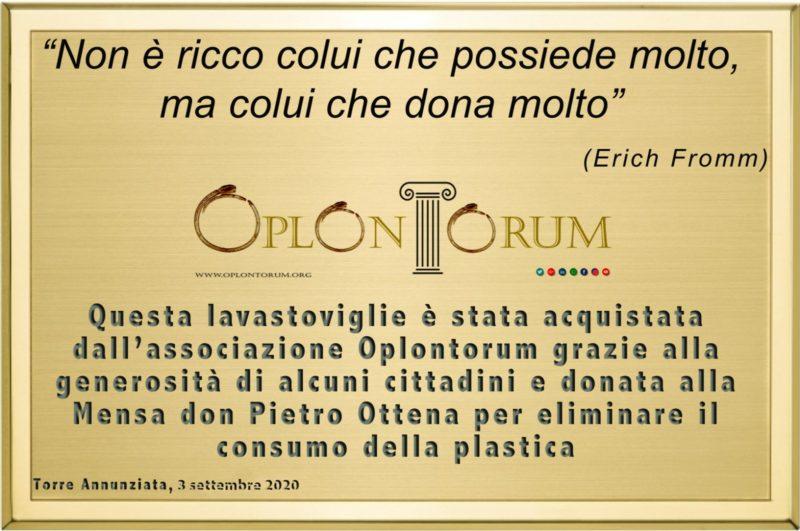 """""""Lavastoviglie Plastic Free"""" consegnata alla Mensa dei Poveri don Pietro Ottena di Torre Annunziata"""